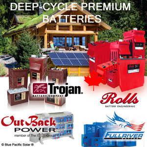 Batteries Deep Cycle Solar Trojan, Rolls, FullRiver, OutBack