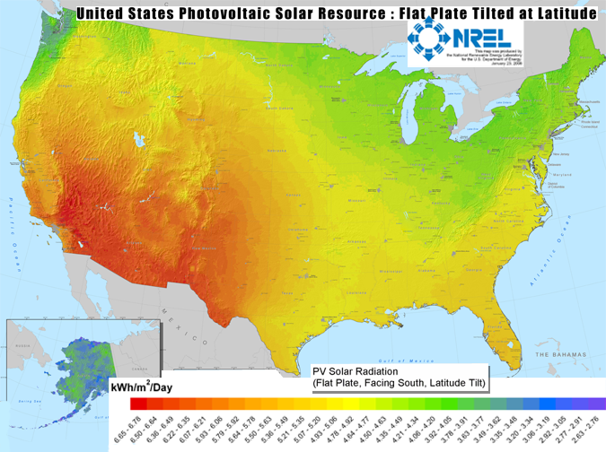 Solar Insolation Map Levels In America
